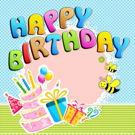 bee party: illustration of happy birthday text with scrapbook element