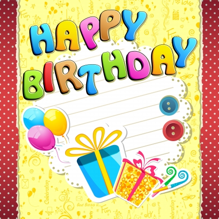 bee birthday party: illustration of happy birthday text with scrapbook element
