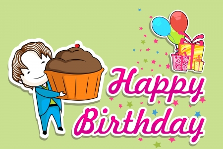 illustration of boy with cake in birthday background Stock Vector - 17441467