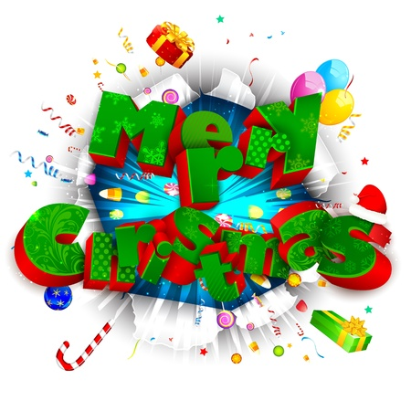 illustration of Merry Christmas text with christmas goodies coming out from torn paper Stock Vector - 17441487