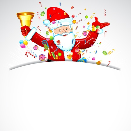 illustration of santa claus with bell and candy Vector