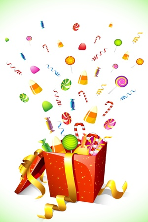 jellybean: illustration of candy poping out of gift box Illustration
