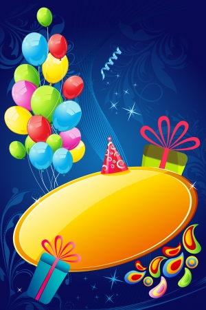 illustration of colorful birthday card with balloons and gift box Vector