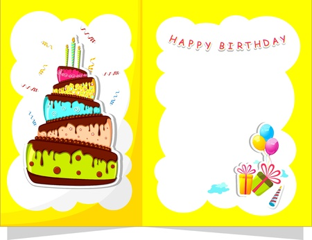 anniversary wishes: illustration of cake and gift boxes in birthday card Illustration