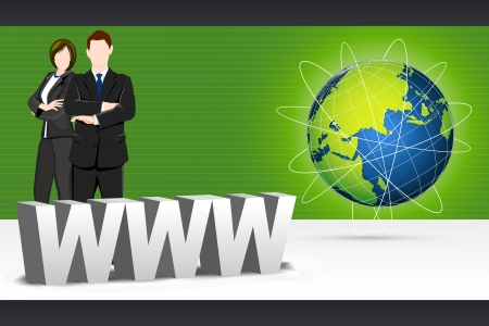 illustration of business people standing with www and globe Stock Illustration - 17473837