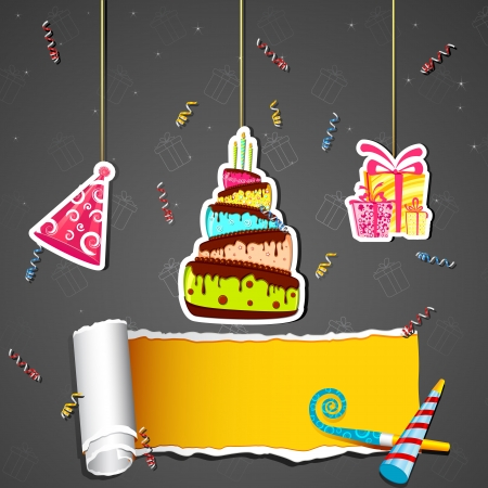 illustration of cut out of birthday element on torn wallpaper Vector