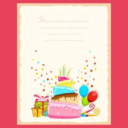 illustration of cake and gift boxes in birthday card Stock Vector - 17473839
