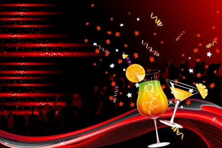 nightclub bar: illustration of cheering crowd dancing in party