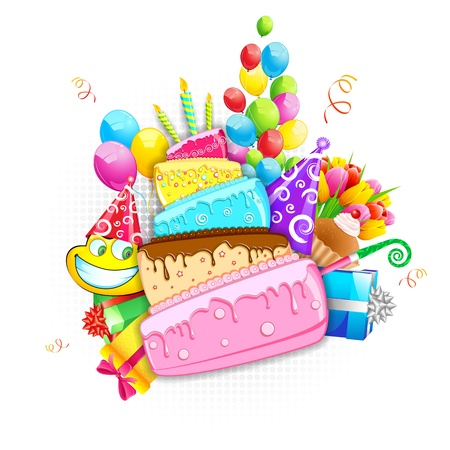 illustration of birthday card with cake,balloon and gift boxes Stock Vector - 17694949