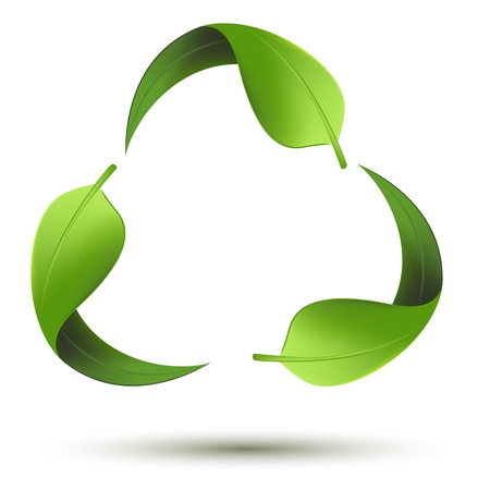 energy conservation: illustration of recycle symbol with leaf on isolated background