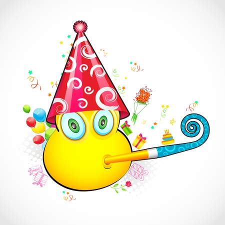 illustration of smiley face with birthday cap and balloon Vector