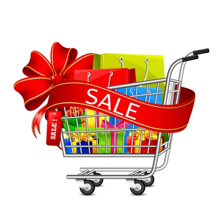 carrier bag: illustration of cart full of shopping bag and gift box with sale ribbon