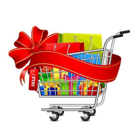 gift basket: illustration of cart full of shopping bag and gift box with sale ribbon