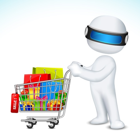 scalable: illustration of 3d man in fully scalable with shopping cart full of product