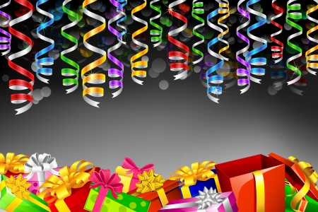 festive occasions: illustration of gift boxes with colorful hanging party steamer Illustration