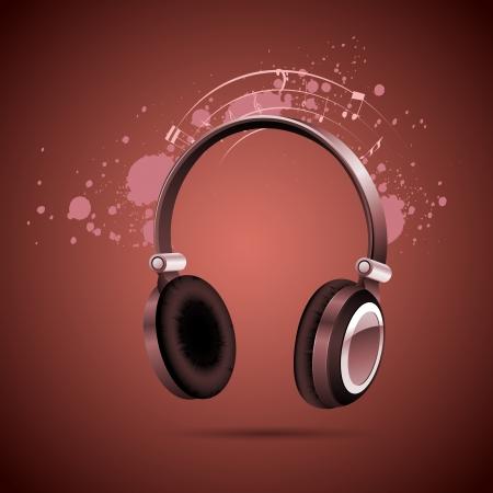 head phone: ilustraci�n de tel�fono principal en el fondo musical abstracto Vectores