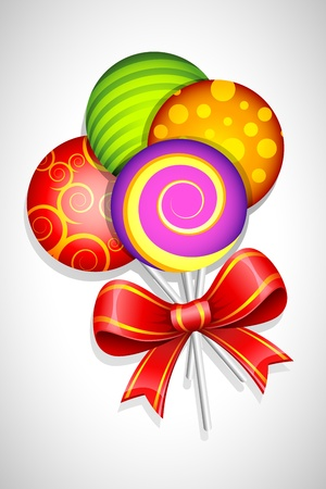 toffee: illustration of sweet colorful lollipop wrapped in ribbon