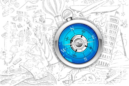 illustration of travel element doodle around compass Stock Vector - 17694860