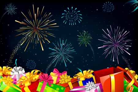 illustration of colorful gift box on fire cracker in sky Vector