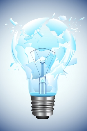 blast: illustration of bulb broken into pieces on abstract background