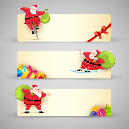 illustration of Santa Claus in Christmas banner Stock Vector - 17694875