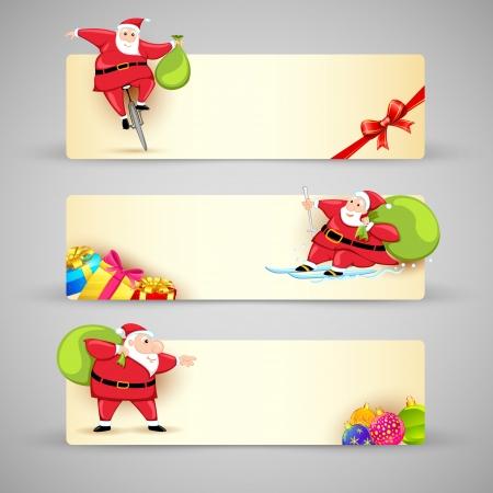 illustration of Santa Claus in Christmas banner Stock Vector - 17694875