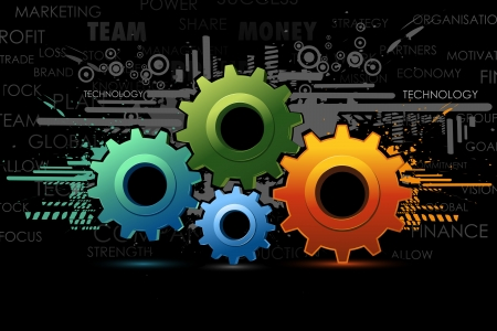 toothed: illustration of colorful cog wheel on abstract background