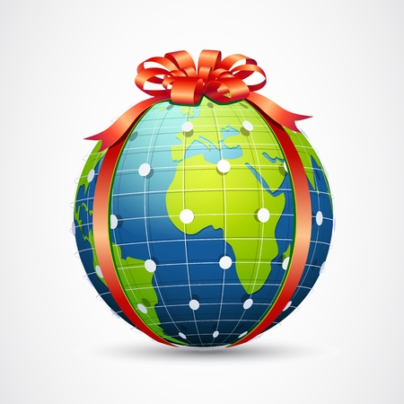 illustration of globe wrapped with ribbon on abstract background Stock Vector - 17694848