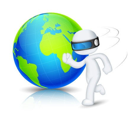 scalable: illustration of 3d man in vector fully scalable running around globe