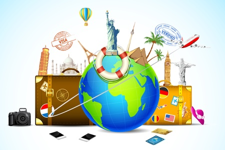 voyage: illustration of travel baggage with world famous monument around globe