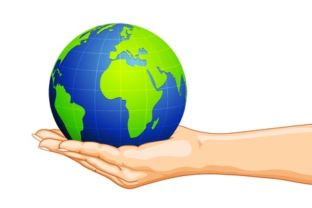 hand holding globe: illustration of globe on hand on white background