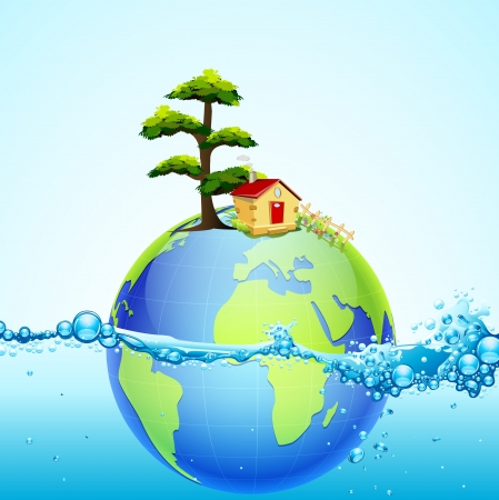 save planet: illustration of earth in splash of water with house and tree