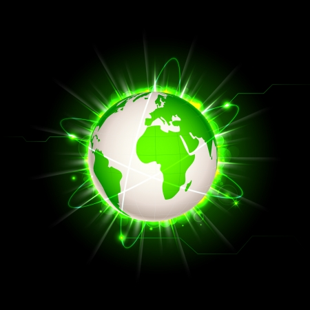 illustration of earth with glowing light effect Vector