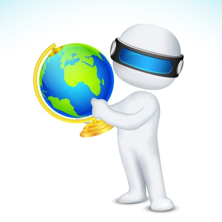 illustration of 3d man in fully scalable showing globe Vector
