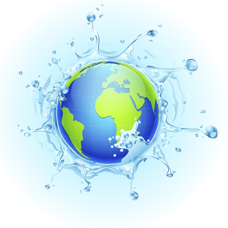 illustration of earth in splash of water on watery background Stock Vector - 17694865
