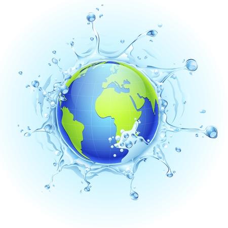 watery: illustrazione della terra in spruzzata di acqua su sfondo acquoso