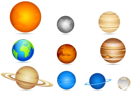 Ilustración del conjunto de los planetas con el sol y la luna