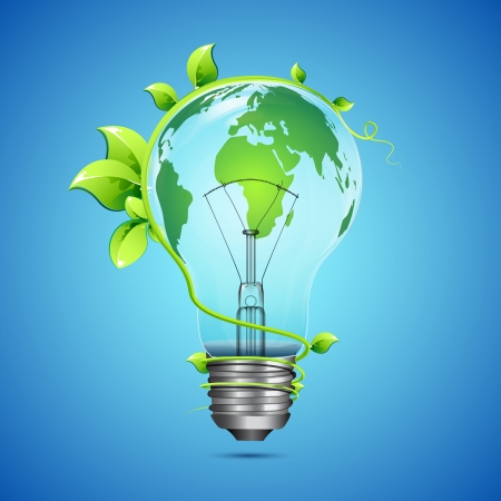 energy conservation: illustration of globe on bulb with growing creeper around it Stock Photo