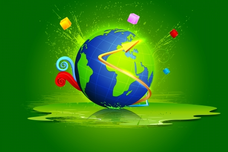 reflection internet: illustration of globe with colorful abstract shape Stock Photo