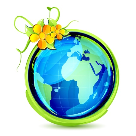 illustration of earth wrapped with grass swirl and flower Stock Vector - 17695652