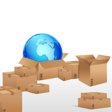 illustrazione del globo in scatola di cartone per il cargo