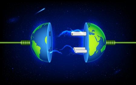 enchufe: ilustración de la toma de corriente en la tierra con chispa Vectores
