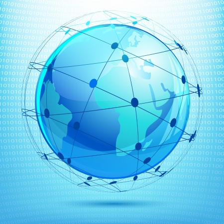0 geography: illustration of globe showing networking on binary background Illustration