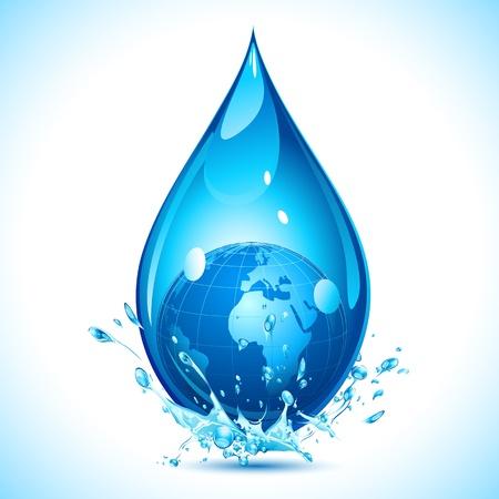 ahorrar agua: ilustración del globo dentro de la gota de agua en el fondo abstracto Vectores