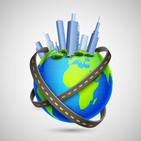earth road: illustrazione di strada intorno al globo con edifici alti Vettoriali