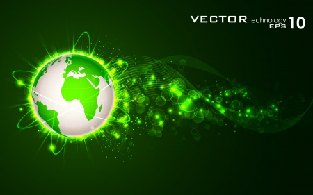 communication concept: illustration of glowing orbit around earth on abstract background