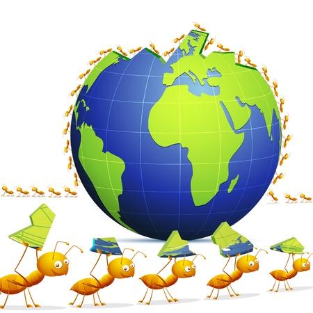 animals together: illustration of row of ants forming worod showing teamwork Illustration