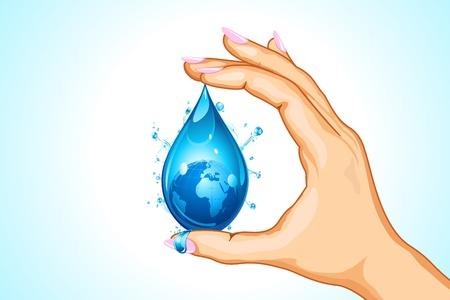 ahorrar agua: ilustración de la mano que sostiene la tierra en la caída de agua