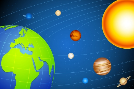 illustration of solar system with planets moving in orbits Stock Vector - 17806457