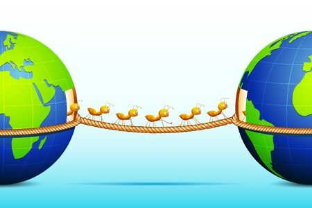 illustration of ant connecting two world walking on rope Vector